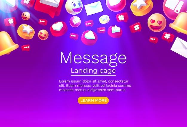 Message avec de nombreuses icônes chat pour la communication des personnes vecteur de page de destination