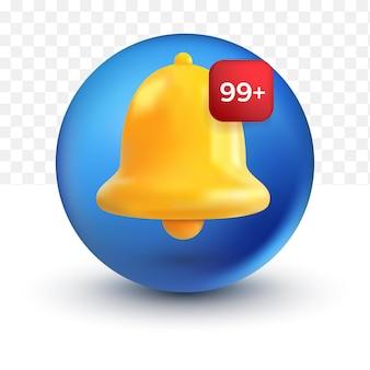 Message de notification des médias sociaux arrondis facebook cloche mignonne alerte et alarme d'icône 3d sur fond pastel