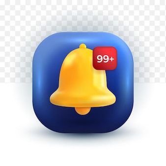 Message de notification des médias sociaux facebook cloche mignonne alerte et alarme d'icône 3d sur fond pastel