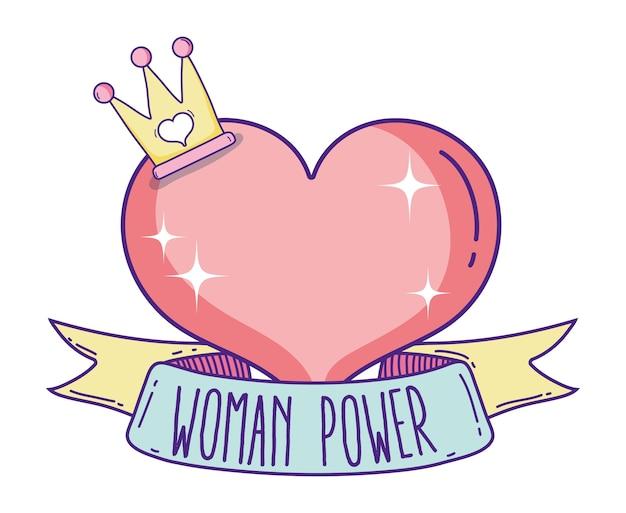 Message de puissance de la femme dans la bannière de ruban