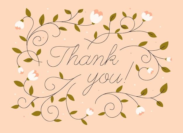 Message de remerciement avec des fleurs