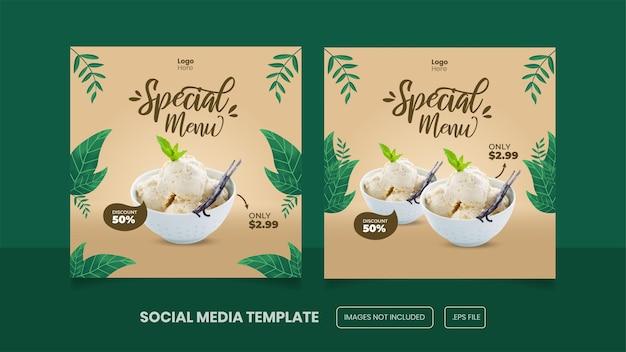 Message sur les réseaux sociaux du menu summer ice cream ou bannière premium eps
