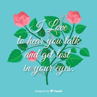 Message romantique avec des fleurs