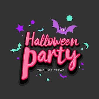 Message rose halloween party avec chauve-souris colorée sur illustration vectorielle fond noir