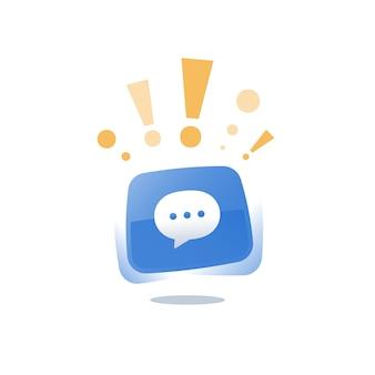 Message texte de chat en direct en ligne, développement d'applications de communication mobile