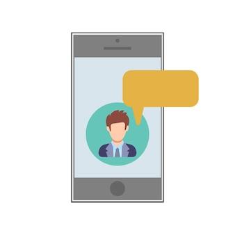 Message texte. sms d'un homme vers un appareil mobile. icône de personnes dans un style plat. illustration vectorielle