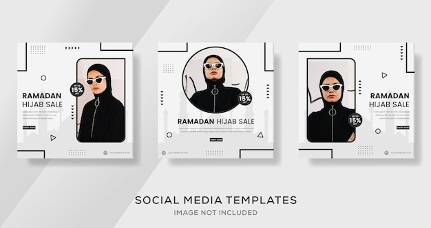 Message de vente de mode ramadan mubarak pour modèle de bannière musulmane hijab