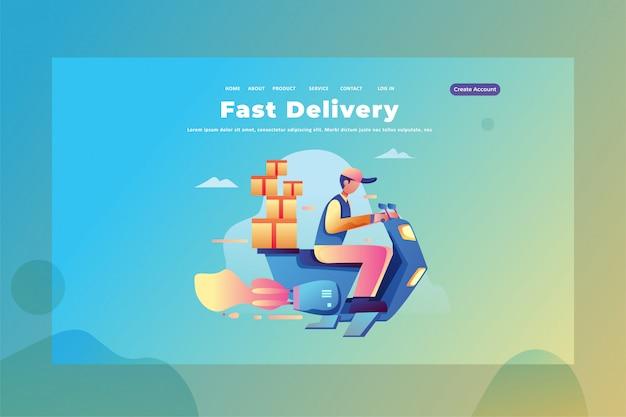 Un messager travaille comme un service de livraison rapide illustration de modèle de page d'atterrissage de la page web de livraison et de fret