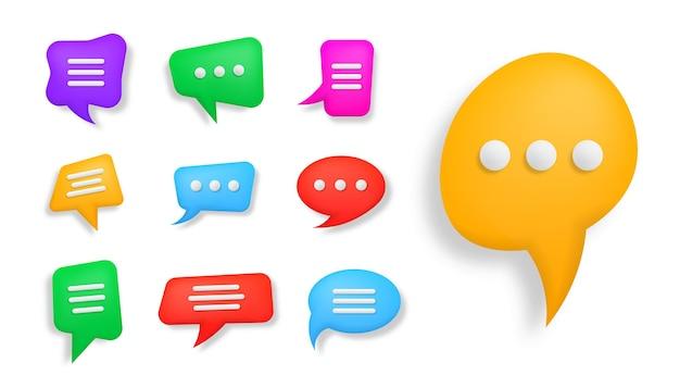Messagerie de dialogue de conversation de bulle de dialogue 3d colorée ou concept de support en ligne