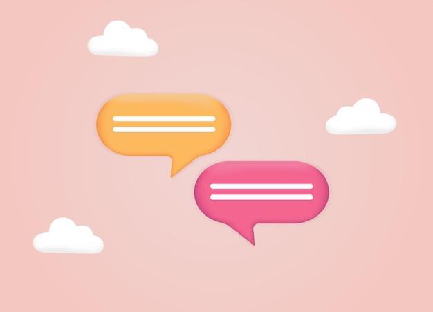 Messagerie de dialogue de conversation ou concept de support en ligne bannière web communication numérique chat 3d