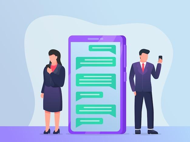 Messagerie instantanée en ligne avec smartphone et gens d'affaires discutant