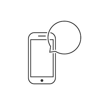 Messagerie avec téléphone intelligent à ligne mince. concept de trafic de données, messagerie vocale, avis sms, dialogue, e-mail, boîte de réception. isolé sur fond blanc. illustration vectorielle de style plat tendance logotype moderne design
