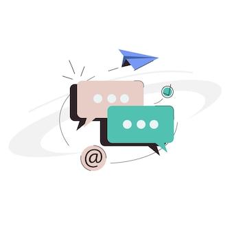 Messages de bulle de dialogue d'icône dans un contour plat et un style de couleur linéaire pour le réseau de sites web