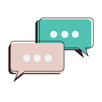 Messages de bulle de discours d'icône dans un contour plat et un style de couleur linéaire pour le réseau de sites web