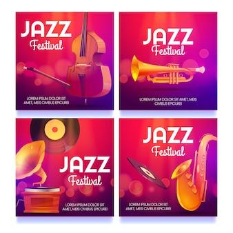 Messages de festival de jazz de dessin animé