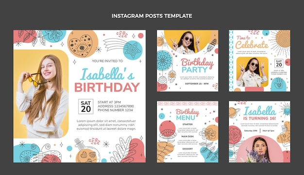 Messages instagram d'anniversaire boho dessinés à la main