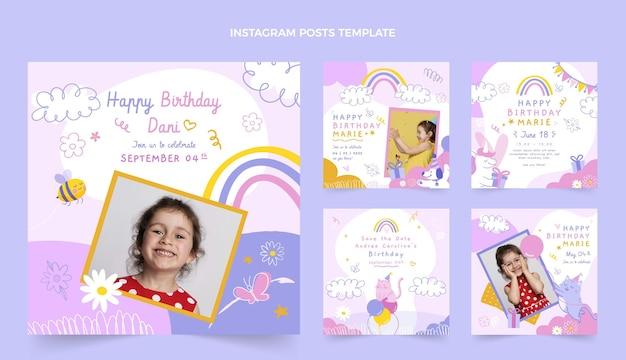 Messages Instagram D'anniversaire Enfantins Dessinés à La Main Vecteur Premium