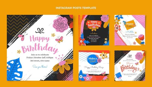 Messages instagram d'anniversaire minimalistes plats