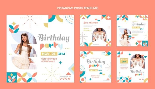 Messages instagram d'anniversaire en mosaïque de style plat