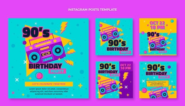 Messages instagram d'anniversaire nostalgiques des années 90 dessinés à la main
