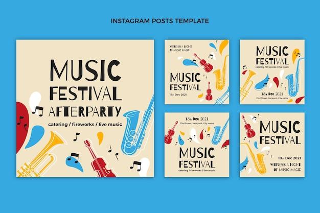 Messages instagram du festival de musique coloré dessinés à la main