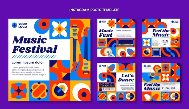 Messages instagram du festival de musique en mosaïque design plat