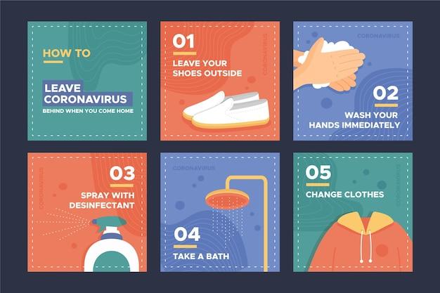 Messages instagram expliquant comment laisser le coronavirus derrière vous à votre retour