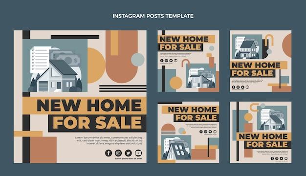 Messages instagram de l'immobilier géométrique au design plat