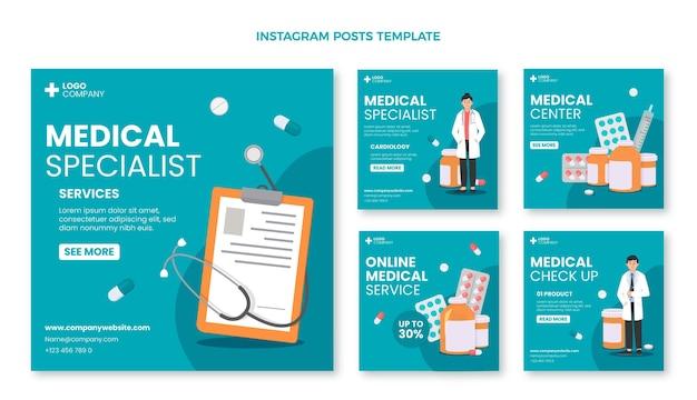 Messages instagram médicaux au design plat
