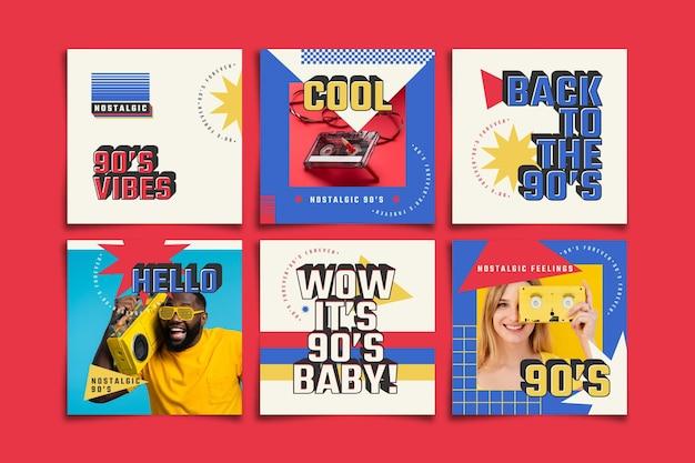 Messages instagram nostalgiques nostalgiques des années 90 au design plat dessinés à la main