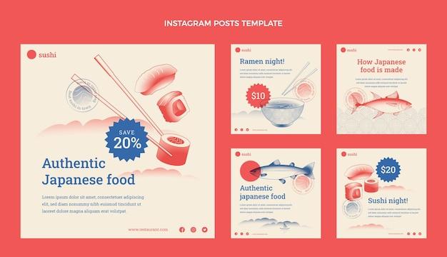 Messages instagram de nourriture de conception plate