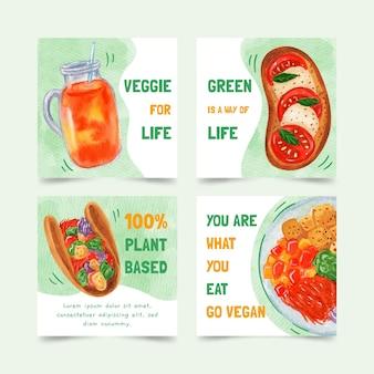 Messages instagram de nourriture végétarienne à l'aquarelle