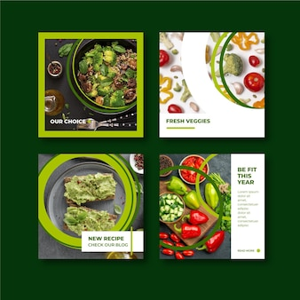 Messages instagram de nourriture végétarienne design plat dessinés à la main