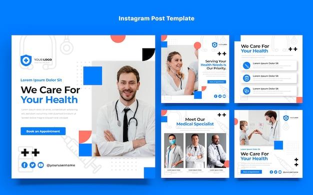 Messages instagram de soins médicaux au design plat