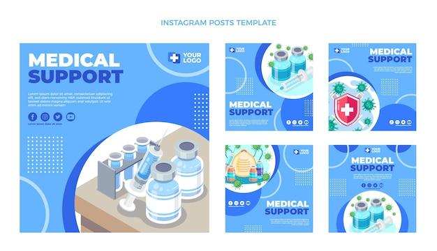 Messages instagram de support médical de conception plate