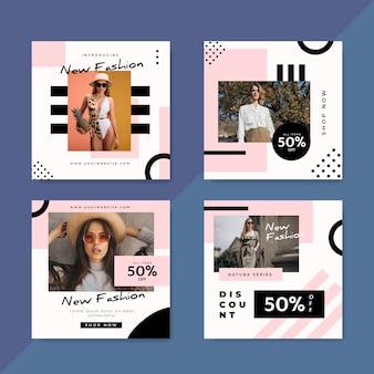 Messages instagram de vente de mode avec ensemble de photos