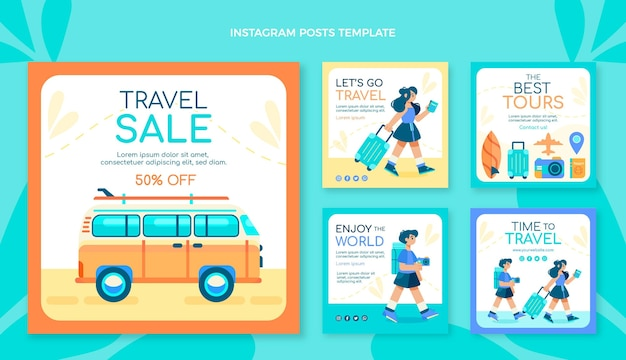 Messages instagram de voyage au design plat