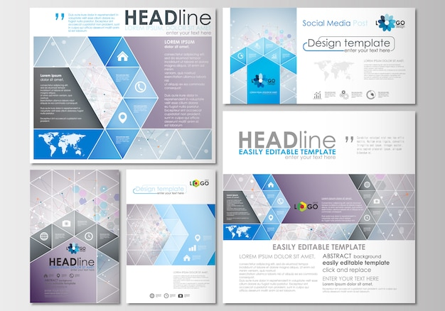 Messages de médias sociaux définis. modèles d'affaires. modèle de conception de la couverture