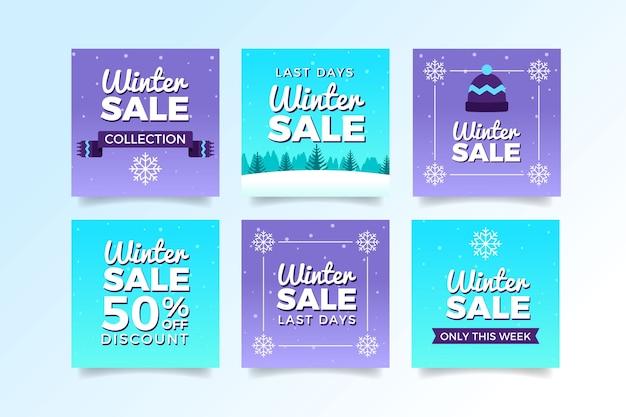 Messages sur les médias sociaux des soldes d'hiver violet et bleu
