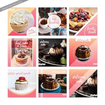 Messages de nourriture sucrée dans les médias sociaux. modèles de gâteaux et cupcakes pour instagram ou facebook
