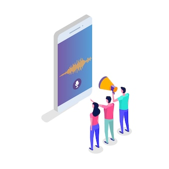 Messages vocaux, concept isométrique de reconnaissance vocale avec caractère. peut être utilisé pour une bannière web, un modèle de page de destination, des infographies.