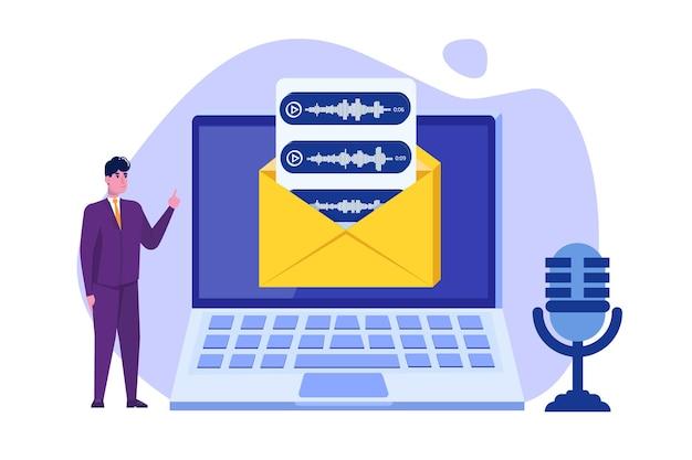 Messages vocaux, concept de reconnaissance vocale avec caractère.