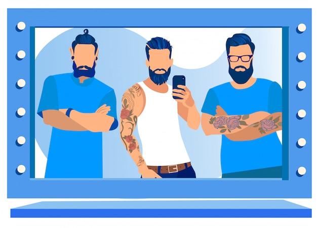 Messieurs les clients posant dans un salon de beauté masculin.
