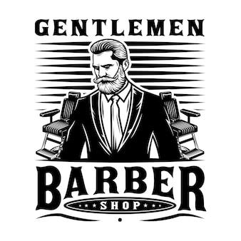 Messieurs emblème de barbier avec chaises de barbier