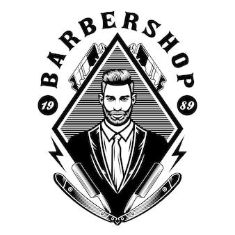 Messieurs emblème du salon de coiffure avec des lames de rasoir
