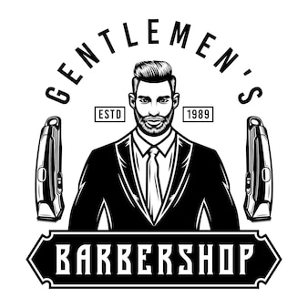 Messieurs emblème du salon de coiffure avec tondeuses