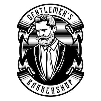 Messieurs emblème d'insigne de barbier avec des rubans