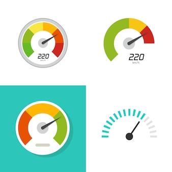 Mesurer la jauge de compteur de vitesse ou le compteur de vitesse indicateur de performance score cadran icône vecteur plat dessin animé