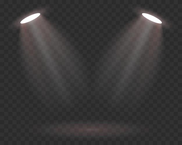 Met en lumière les effets de lumière de la scène. vecteur de projecteur de lumière de scène. illustration vectorielle