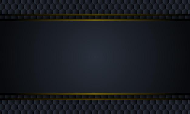 Métal noir avec des lignes jaunes sur fond hexagonal illustration vectorielle